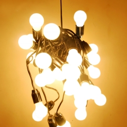 Chandelier 30 consists of 30 light bulbs. It was made for a friend's 30 year anniversary by A. Novikov.