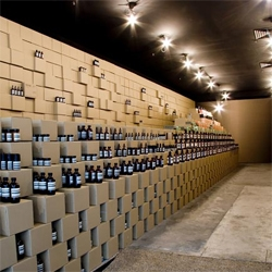 The interior of Aesop's store in melbourne is composed almost entirely of cardboard. Interesting...but is it nice?
