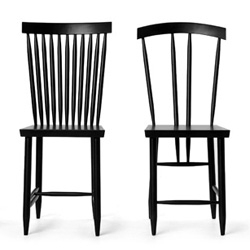 Design House Stockholm Family Chairs by Lina Nordqvist ~ here are 2 of the 4 designs that are a twist on the classic wooden dining chairs ~ they are all so fun, especially as a set! See pics of them in NY Design Week too!