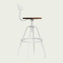 MAKR Swivel Studio Work Stools in White, Grey, and Black Powder Coated Stainless Steel with Black Walnut Seat.