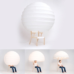 Seung Yong Song's Object-O Chair - made of White birch, Korean paper, UV gloss paint, this is a spherical, lantern like chair you can hide in!