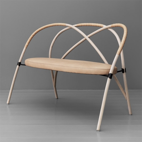 Bow bench designed by Lisa Hilland for Gemla.