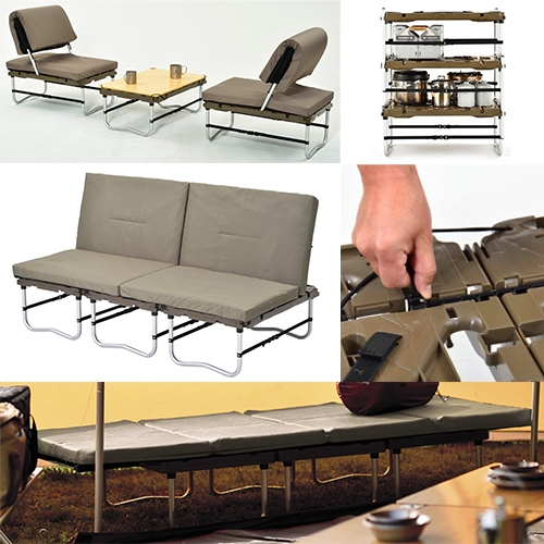 Snow Peak Campfield Futon is incredibly multipurpose, transforming from futon to bench/bed to chairs and table to stacking storage and more. It also assembles with no tools.