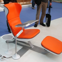 Humanscale Design Studio's prototype for its new chaise lounge workstation. It was ergonomically designed for laptop computer support.