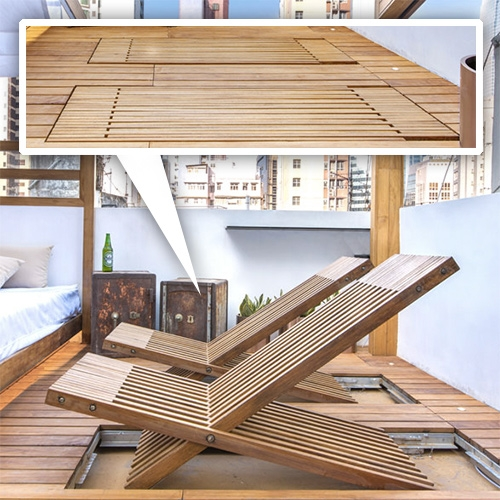Liquid Interiors Eco Smart Studio Apt in Hong Kong. Nice detail of sun chairs that slide flat into the deck when not in use.