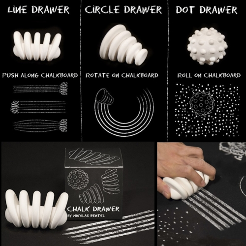 Nikolas Bentel Chalk Drawers in Circle, Dot, and Line