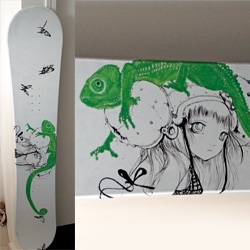 Camilla D'Errico Snowboard live painted for Microsoft Zune in 2009 ~ love the chameleon!