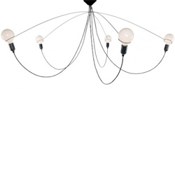 """Heavy Guy Chandelier XL"" by dutch designer Mischa Vos. A hanging light made of 5 globes, suspended in air, supported by thin steel rods."