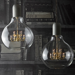 King Edison Pendant Lamp designed by Young & Battaglia. It's a mini chandelier in a light bulb!