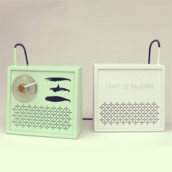Eccentric late designer Cyprien Côté created a number of nature inspired creations including CHANT DE BALEINES, a whale song radio.