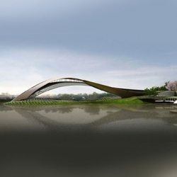 The bridge-like Pasaan Memorial/ Museum simulates the flow of water to represented the Chao Phraya River where the building is proposed.
