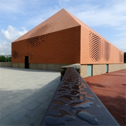Best chapel design ever. The John Paul II chapel in Rijeka was designed by croatian architects Randic & Turato. A pixelated brick skin encloses a huge interior space filled with natural light.