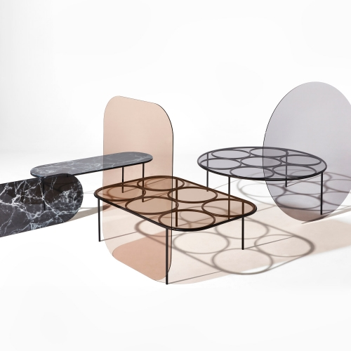 Chapel Coffee Tables designed by Nikolai Kotlarczyk.  The Chapel Series is made in Australia with toughened glass and powder coated steel.