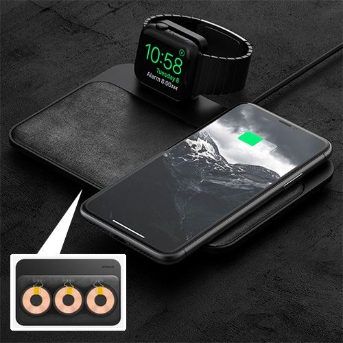 Nomad Base Station Apple Watch Edition Charger. Charge up to 3 devices at once. Includes a certified apple watch charger, 3 Qi-certified coils at 7.5W wireless charging each, and a padded leather wireless charging surface.