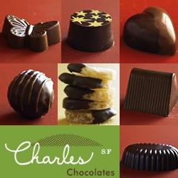 "mmm... chocolate.  charles chocolates. I'd love to try some right about now. and by ""some"", i mean a whole box. They have a cute site too. [Notcot note: check out the PMS subscription. i crave it]"