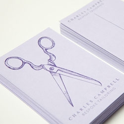 Identity, stationery and packaging for a traditional bespoke tailor called Charles Campbell by Teacake Design.