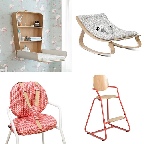 Charlie Crane makes beautiful bent-ply baby rockers, cribs, changing tables, and high chairs that can grow with your child... and the details of some of their fabrics are so fun too.