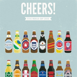 Moxy Creative releases Cheers! set of 16 posters representing the qualifying teams for the 2010 World Cup.