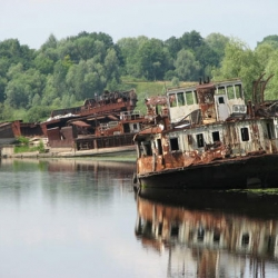 Ships abandoned over twenty years ago, left by their owners after the Chernobyl disaster due to their high levels of radiation.