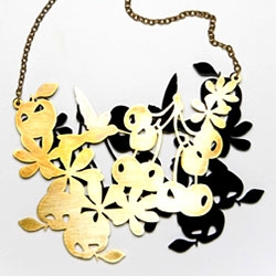 """Little Kingdoms""  brass + acrylic necklace by Tatiana Sanchez for JALEA JALEA / Mexico."