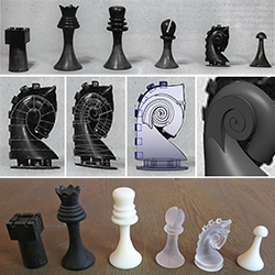 "Marcel Duchamp's Chess Set as downloadable 3D Prints! As digitized by artists and makers Scott Kildall and Bryan Cera as ""ReadyMake"""