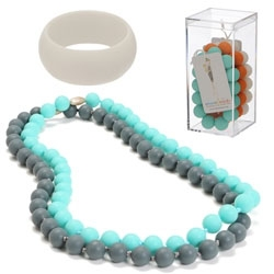 Chew Beads ~ jewelry for mom's to wear that is safe for teething babies - made of 100% silicone, No BPA, PVC, Phthalates, Cadmium, or Lead