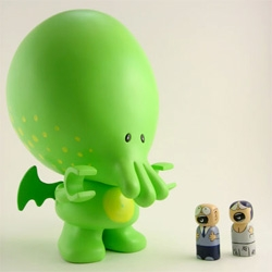 My Little Cthulhu - i hope this green guy makes it past prototype stages ~ and that his lego-esque hands can grab the little screaming people