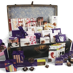 "Vosges' ""Travel The World Through Chocolate Steamer Trunk"" ~ containing everything made by Vosges! These custom vintage trunks are hand picked and are filled with about 50 pounds of chocolate..."
