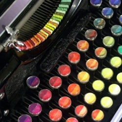 Washington-based painter Tyree Callahan modified a 1937 Underwood Standard typewriter, replacing the letters and keys with color pads and hue labels to create a functional 'painting' device called the Chromatic Typewriter.