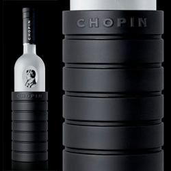 Chopin Vodka custom-designed bottle chiller by c/c ~ are silicon accessories the new alcohol trend?