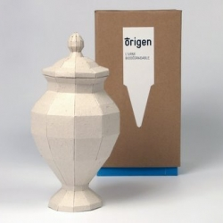 The ultimate way to recycle: Christelle Boulé's paper urns have a biodegradeable cap filled with oak seeds. Bury the urn and the ashes of the deceased nourish the seedling.