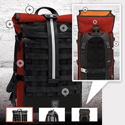 Chrome Industries now lets you customize three of their bags online! Any color you want ~ we made our Barrage with different colors on the left and right panels even, and a bright orange interior.
