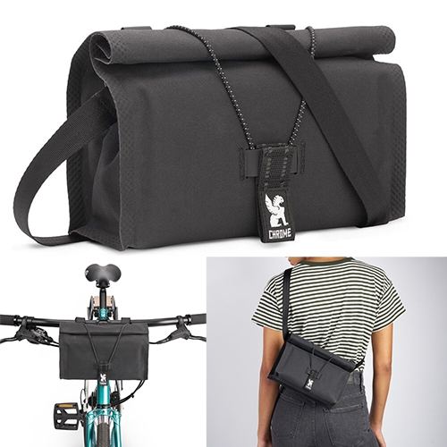 Chrome Urban EX Handlebar Bag 2.0 - for your bike or use it as a sling or waist pack. Made of 600d polyester w/ PU coating on surface & w/ TPU backing and 70d nylon line. Elastic allows you easily add more or tighten down pack as needed.