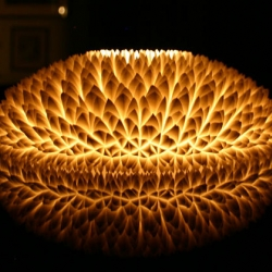 The chrysanthemum centerpiece by South African designer Michaella Janse van Vuuren. The centerpiece is a reversible design that can function as either a bowl or a candle holder.