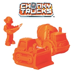Makerbot's Chunky Trucks! Even if you're not a 3D modeler, you can still print out fun 3D toys ~ in their digital store you can now download adorable Chunky Trucks construction vehicles and workers.