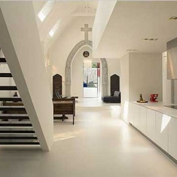 """A dutch firm named Zecc has converted an old chapel into an apartment, carefully respecting and enhancing the character of the original building."""