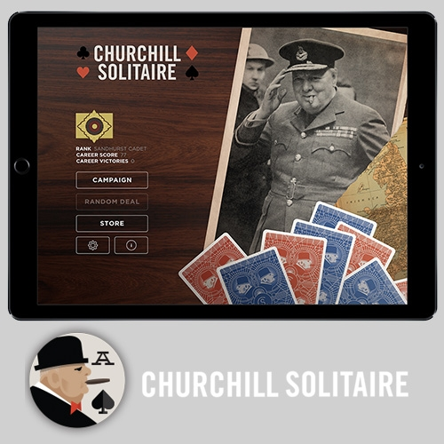"Churchill Solitaire (for iOS) - as developed by Donald Rumsfeld (once secretary of defense). ""With two decks of cards, a ""Devil's Six"" row of cards, and timed scoring, there is no more strategic or addicting solitaire game on the market."""
