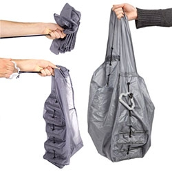 Michael Pappas CHUTE reusable shopping bag - simply pull the parachute ripcord to open the canopy! The bottom of the bag is lined with carbon fiber tubes to allow structure for the contents... fun project from SAIC that was first shown in Milan 2012.