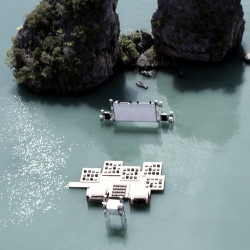 Architect Ole Scheeren designs a floating cinema for the final day of the Film on the Rocks Yao Noi Festival in Thailand.