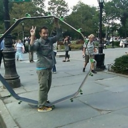 "Artist Mark Gonzales built a nine skateboard contraption called the ""Circle Board."" This video shows his friend and fellow skateboarder, Anthony Pappalardo, attempting to ride it around NYC. The last clip shows that Gonzales is the master of his creation."