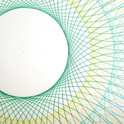 The Circle Project by Richard Sarson using a compass and pigment ink on 70gsm Cylus Offset. It makes me miss my Spirograph.