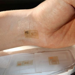 Epidermal electronics? John Rogers and co-workers at the University of Illinois Urbana-Champaign have created circuits that stick to the skin. Full report in Science.