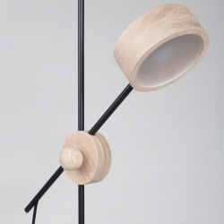 Circus, minimalist design lamp where aluminum elements are replaced by oak, created by Norway-based designer Stian Korntved Ruud.