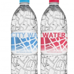 City water, with map of Paris bump on the body of bottle. Lovely conceptual packaging by Dzmitry Samal.