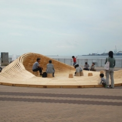 Crater Lake, multi-use environmental installation project by 24° Studio, serves as a meeting place where every area can be used as seating for visitors to enjoy the surroundings.