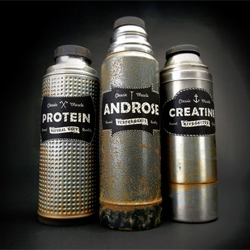 Kyle Fletcher designed this no nonsense packaging and naming for Classic Muscle, a dietary supplment.