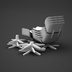 "The classics go plastic in Dirk Winkel's ""A Stacking Hommage"" ~ Eames' Lounge Chair and Barcelona Chair in stackable plastic goodness."