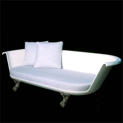 """""""each piece is unique. four to six feet in length."""" There's something timelessly romantic about clawfoot tubs... amusing that they use icy blue sensuede ~ is that supposed to be like water?"""