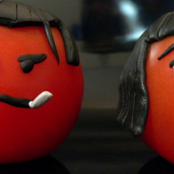 Stop animation of a scene from Pulp Fiction with Tomatoes. Good fun.