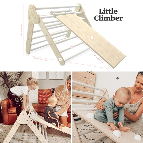Lily & River Little Climber Pikler Triangle and Slide/Rock wall, for crawlers to 5 year olds. Impressed with the quality and details of this design (see vid at the bottom for a peek in their factory.) This has been a game changer for our NOToddler!